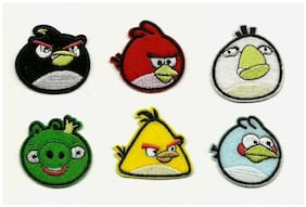 Angry Birds Set of (6) Iron On/Sew On Embroidered Patches 1 1/2 INCH ROUND