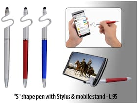 "Anmol  ""S"" Shape Ball Pen With Stylus & Mobile Stand (Set Of 3)"