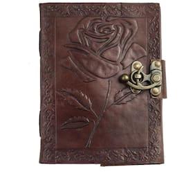 Anshika International  Pure Genuine Real Vintage Hunter Leather Handmadepaper Notebook Diary  For - Size of (H) 7*(L) 5 Brown