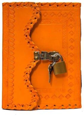 Anshika International Leather Journal Diary With Lock n Key 17.78 cm (7 inch) x 12.7 cm (5 inch) (light orange)