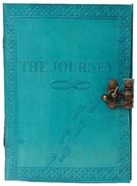 Anshika International Leather Journal Diary With Engraved Journey ocean blue 7 x 5 inch
