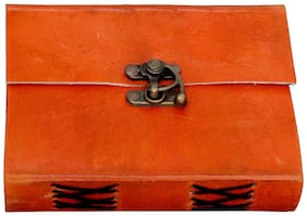 Anshika international Genuine Real Vintage Leather Handmade paper Notebook Diary with metal Lock -Size of 10.16 cm (4 inch) x 15.24 cm (6 inch) (Orange)