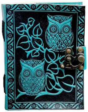 """Anshika International Leather Journal Lock Diary Book With Premium Paper For Her Abstract Owl Design Diary With Lock Size -7""""1""""5"""