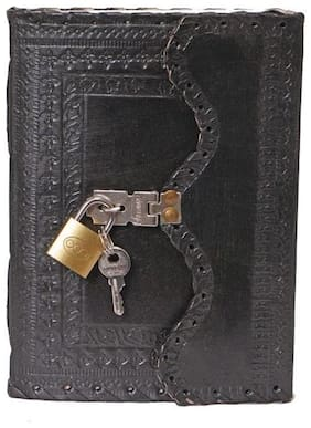 Anshika International Leather Diary With Engraved Lock Black 7 x 5 inch