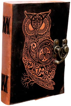 Anshika International Pure Genuine Real Hunter Leather Handmade paper Notebook Diary With attractive Metal Lock and Engraved Owl - Size of (H) 7 *(L) 5