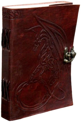 Anshika International Pure Genuine Real Vintage Hunter Leather Handmade paper Notebook Diary For With attractive Metal Lock and Engraved Dragon- Size of (H) 7 *(L) 5 inch