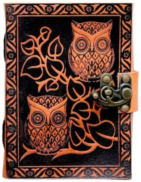 "Anshika International Leather Journal Lock Diary Book With Premium Paper Notebook/Diary Owl Design With Lock Size -7""1""5"