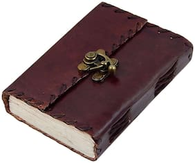 Anshika International Pure Genuine Real Vintage Hunter Leather Handmade Paper Notebook Diary With Metal Lock - Size Of (H) 5 *(L) 4 inch Brown
