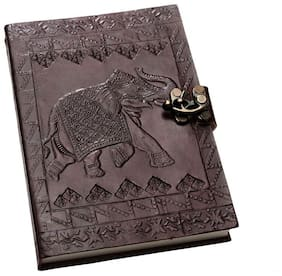 Anshika International Original Leather Diary/Diaries/Handmade Handcrafted Notebook/Journals with Engraved Elephant  Diary