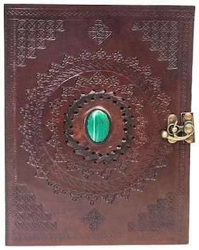 Anshika International real Leather green stone Diary With C lock Brown 9 x 7 inch