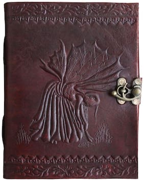 Anshika International  Pure Genuine Real Vintage Hunter Leather Handmadepaper Notebook Diary with Engraved For office Home to Write Poem Daily Update - Size of (H) 7*(L) 5 Brown
