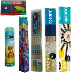 APSARA GOLD PENCILS + APSARA REGAL GOLD PENCILS + APSARA WONDER GRIP PENCILS + APSARA EZ GRIP PENCILS + APSARA 6 SHADE POSTER COLOURS + APSARA 12 ERASABLE PLASTIC CRAYONS