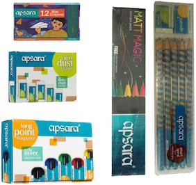 APSARA MATT MAGIC PENCIL +EZGRIP PENCIL +NON DUST ERASER +LONG POINT SHARPENER + 1 SET 12 WAX CRAYONS + 1 POUCH