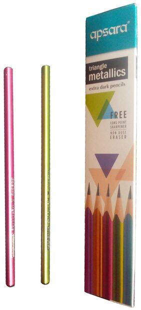 Apsara Multicolor Triangle Metallics Pencils - Pack Of 10