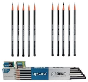 Apsara Platinum Extra Dark Pencil(Pack of 100 Pencil+10 Eraser+10 Sharpner)