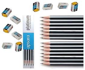 Apsara Platinum Extra Dark Pencil(Pack of 100 Pencil+10 Eraser+10 Sharpner)