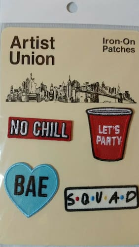 ARTIST UNION IRON ON PATCHES BAE NO CHILL LETS PARTY SQUAD 4 PATCHES PER PACK