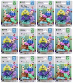 Asera Ocean Princess Mermaid Fancy Erasers for Birthday Return Gifts (Set of 12)