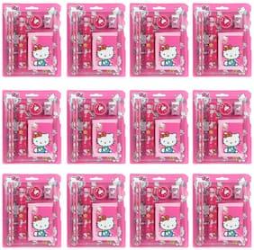 Asera Stationery Gift Set for kids for Birthday Return Gifts for Boys / Girls (Hello Kitty, Set of 12)