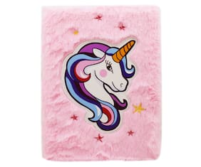Asera Unicorn Fur Diary / Stylish Feather Diary for Girls / Cute Unicorn Plush Notebook for Girls (Size 21*15 cm)