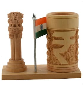 sajawat bazaar Ashoka Pillar Pen Stand With National Flag