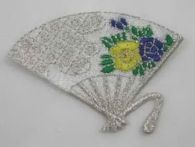 Asian Fan White Silver Floral Decorated Iron On Patch