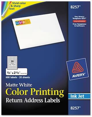 Avery Vibrant Color-Printing Address Labels 3/4 x 2 1/4 Matte White 600/Pack
