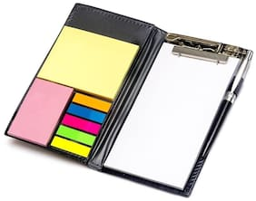 Awestuffs Memo NotePad With Sticky Notes and Clip Holder Along With Pen Diary Style