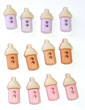 Baby Bottles / Bottle Shaped Sew Thru Buttons 4 Boy or Girl / Jesse James / NIP