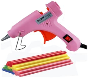 bandook 20W Hot Melt Glue Gun Dodger With 20 Fluorescent Glue Sticks  Pink Color With Power Indicator