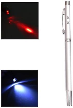 Bazaar Gali Multifunction 5 in 1 LED Flashlight Torch Red Laser Pointer Ball Pen with Case (Pack of 1) Assorted Color
