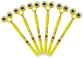 Beautiful Eye Top With Moving Spring Eyes To Use And Gift Gel Pen (Pack of 6) Yellow Color