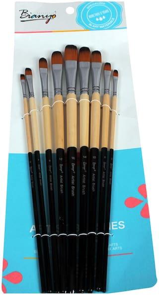Bianyo Long Handle Flat Paint Brushes  (Set of 9, Black,White)