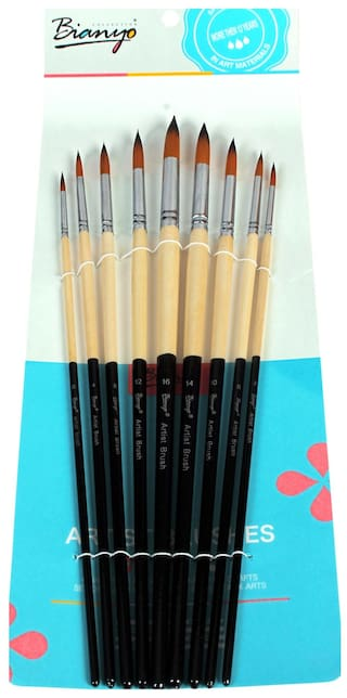Bianyo Long Handle Round Paint Brushes  (Set of 9, Black,White)