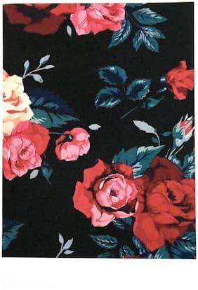 Black floral A5 unruled notebook