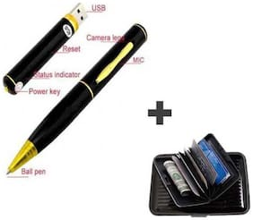 Black Gold Pen with High Quality Video Camera + Built-in 4GB USB Pen Drive + Free Card Holder
