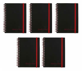 """Black n' Red Twin Spiral Notebook 4.6"""" x 6"""" - 70 Ruled Sheets, 5 Pack"""