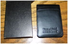 Black Note Pad 3x5 with Pad of Paper & Pen Holder LEED'S Exxon Jotter Notepad