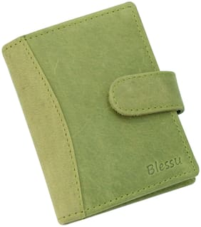 Blessu Genuine Leather Card Holder RFID Protected Green Colour (Unisex)