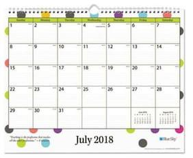 "Blue Sky 100340 Teacher Dots Academic Year Wall Calendar, 15"" X 12"", Asst Color"