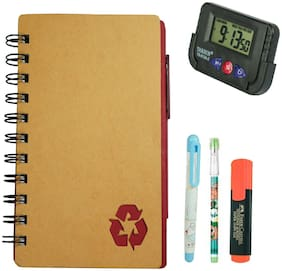 Bluto Combo of Maroon Diary With Sticky Notes & Pen;Pencil;Fountain Pen;Highlighter;Table Watch