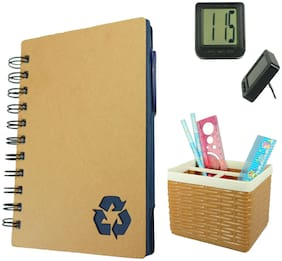 Bluto Combo of Blue Diary With Sticky Notes;Pen & Table Watch;Pen/Pencil Stand