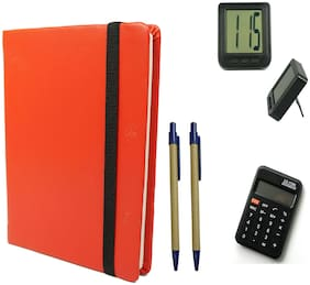 Bluto Combo of Red Leather Diary With 2 pen & Table Watch;Calculator