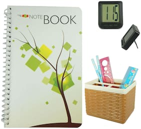 Bluto Notebook Diary With Pen/ Pencil Stand & Table Watch Combo