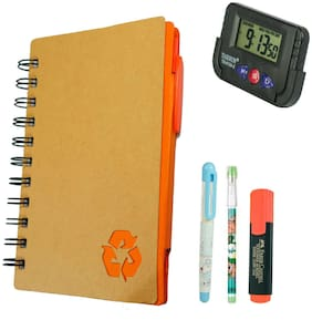 Bluto Orange Diary With Sticky Notes & Pen;Pencil;Fountain Pen;Highlighter;Table Watch Combo