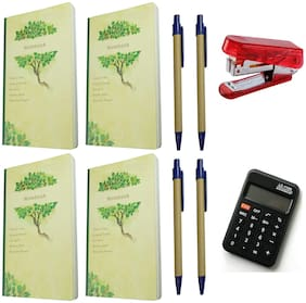 Bluto Pack of 4 Green Notebook with Pen Combo & Stapler;Calculator Combo