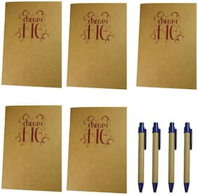 Bluto Set of 5 Dream Big Notebook 50 High Quality Pages with 4 Cardboard Pens
