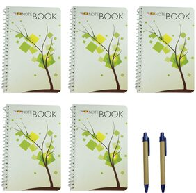 Bluto set of 5 Spiral Notebook 50 High quality Pages with 2 cardboard pens