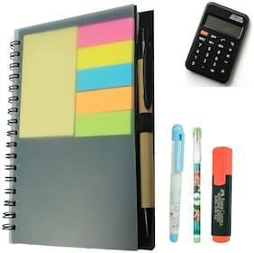 Bluto Sticky Notes Diary withPencil;Fountain Pen;Highlighter;Calculator Combo
