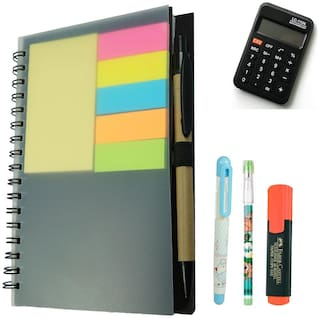 Bluto Sticky Notes Diary withPencil;Fountain Pen;Highlighter;Calculator Combo
